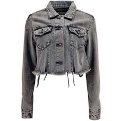 Boohoo Ursa Raw Edge Crop Denim Jacket ($16) ❤ liked on Polyvore featuring outerwear, jackets, longline bomber jacket, cropped denim jacket, denim jacket, jean jacket and quilted jacket