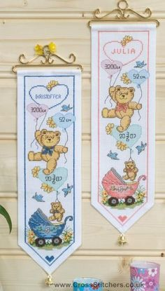 Bears Wall Hanging Boy's Birth Sampler Cross Stitch Kit - Idéna Collection by Anchor