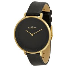 Shop for Skagen Women's Ditte Analog Black Dial Black Leather Watch. Get free delivery On EVERYTHING* Overstock - Your Online Watches Store! Skagen Watches, Big Watches, Best Watches For Men, Casual Watches, Silver Watches, Leather Watches, Wrist Watches, Black Leather Watch, Beautiful Watches