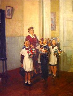 """Russian school uniform. """"The First Day at School"""" – painting by A. Kerzhner, 1950. #education"""