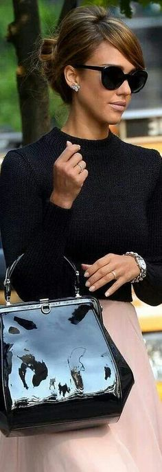Look 1 (business): Boatneck or crewneck top in a dark color, a-line skirt, pointed-toe stilletos.