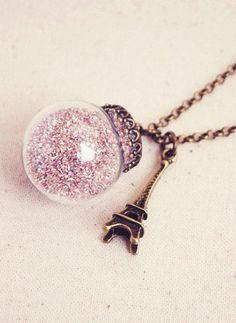 Glass Bubble Necklace with Pink German