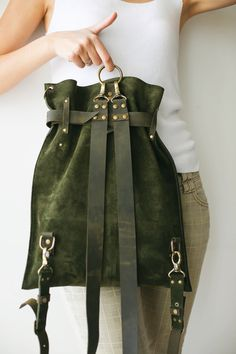 Green Leather Bag, Suede Backpack, Vintage Backpack, Convertible Backpack Green leather backpack bag in suede leather Vintage backpack Green Backpacks, Vintage Backpacks, Leather Backpacks, School Backpacks, Green Leather, Suede Leather, Leather Bags, Green Suede, Leather Totes