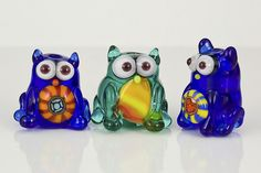 New Line of Glass Cats by maybeads, via Flickr