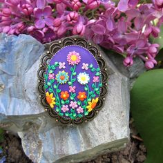 free shipping purple floral statement brooch fashion style boho gift for mom  by FloralFantasyDreams