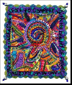 """Flower Power.   Painted fiber,beaded, embroidered, embellished. Abstract series.  7"""" x 5""""-Sold"""
