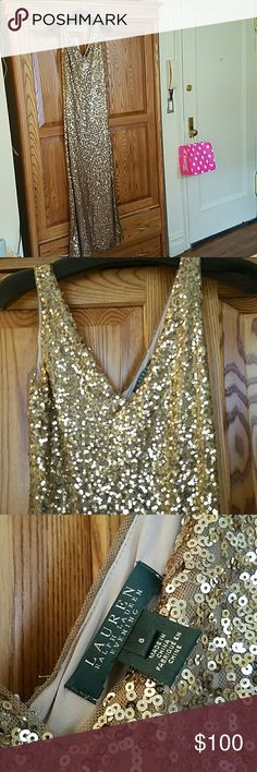 Lauren Ralph Lauren Gold Sequin Evening Dress Go full glam with this floor length, v-neck, gold sequin gown. Perfect for New Years Eve or sweeping around your bedroom with a tiara you picked up at CVS... or maybe that's just me?   Purchased for a wedding and worn once. Size 6. Lauren Ralph Lauren Dresses