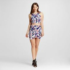 Women's Two Piece Floral Scuba Top and Skirt Blue - Lily Star (Juniors')