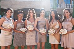 I like the idea of all different bridesmaid dresses but a cohesive color scheme. Yours would definitely be a little more rustic, soft natural fabrics, and more country in a dusty cornflower blue theme. I think they should all be above knee length. Different Bridesmaid Dresses, Champagne Bridesmaid Dresses, Different Dresses, Gold Bridesmaids, Wedding Bouquets, Wedding Dresses, Wedding Outfits, Party Dresses, Wedding Attire