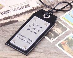Custom Leather Luggage Tag -  Handmade Leather Compass Tag - Latitude Longitude Tag - Anniversary, Groomsmen, Wedding Luggage Tag