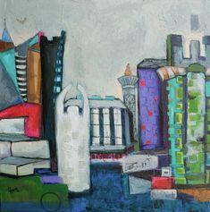Colorful cityscape by Lorra Kurtz, 36 x 36 in Acrylic @dkgallery, Marietta, GA