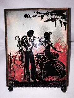 Vintage Silhouette Convex Glass Reverse Painting Picture Spanish Couple