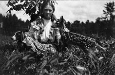 Eloise Morris with a dog and a fawn (ca 1913). | Florida Memory