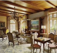 Library - restored 1920's Florida oceanfront mansion - Interior Design David Easton. Photography Howard Christian, published AD