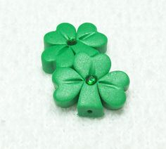 Shamrock Polymer Clay Beads Medium Size with Matte by BarbiesBest, $3.25