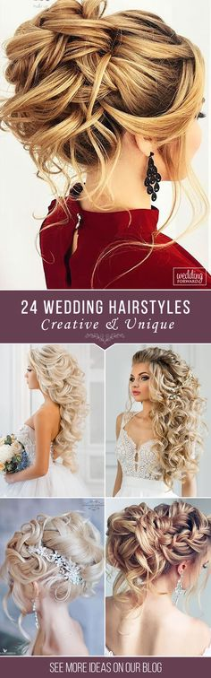 24 Creative & Unique Wedding Hairstyles ❤From creative hairstyles with romantic, loose curls to formal wedding updos, these unique wedding hairstyles would work great either for your ceremony or for your reception. See more: http://www.weddingforward.com/creative-unique-wedding-hairstyles// #weddings #hairstyle