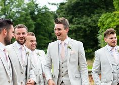 Groomsmen in Pale Next Suits | Jo Hastings Photography | Romantic Blush Pink Wedding at Iscoyd Park in Shropshire | Pronovias Bridal Gown | Debenhams Bridesmaid Dresses | Hugo Boss Suit