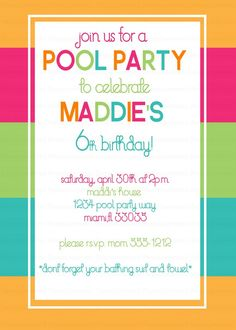 54 Best Pool Party Invitations Images Pool Parties Pool Party