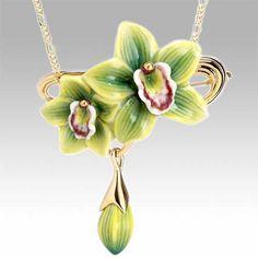 Franz Sculptured Green Orchid Flower Porcelain Pendant
