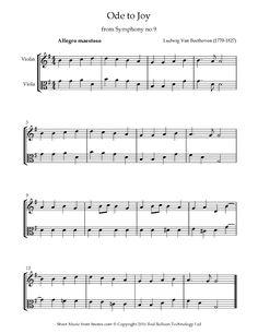 Beethoven - Ode to Joy sheet music for Violin-Viola Duet - 8notes.com