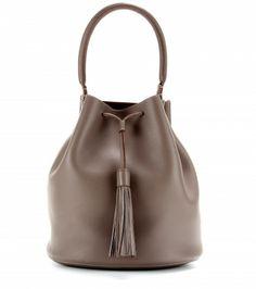 Leather bucket bag.