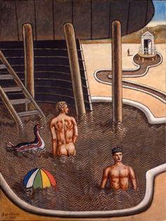 Giorgio de Chirico (1888-1978)  - Mysterious bath with duck (Bains mystérieux avec un canard), 1973    Musée d'art moderne de la ville Paris, France