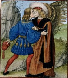 AMOUR KISSING THE LOVER ~ Flemish miniature from Bruges 1490-1500 / in LE ROMAN DE LA ROSE by Guillaume DE LORRIS and Jean DE MEUNE London, British Library Harley 4425: fol. 24