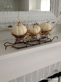 """next year i want to have a """"white halloween"""" (one exception-a traditional halloween room for Micah and new baby) Bed Spring Crafts, Spring Projects, Fall Crafts, Art Projects, Rusty Bed Springs, Box Springs, Autumn Display, Pumpkin Display, Fall Displays"""
