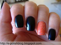 Black nails with an accent oragne/giller nail. Or flip it!
