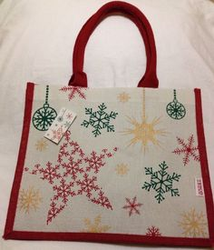 Tesco Christmas Jute Tote Bag 2014 Red Green Gold Eco Reuse Flake New • CAD  24.83 036416a249