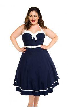 Sailor Swing Dress in Navy - Plus Size