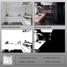 White colored room (1) makes the place look brighter and bigger (3), that's why it's recommended for small spaces. Dim colors (2) makes rooms look smaller and darker (4), and these colors work better for bigger and luminous spaces