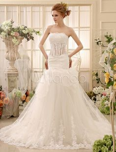 Milanoo Coupons: Mermaid Chapel Train Ivory Ruched Wedding Dress For Bride with Strapless Tulle - Milanoo.com