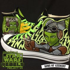 Star Wars Rebels: Hera Syndulla [project VM] custom painted sneakers #StarWarsRebels #StarWars #HeraSyndulla #VanessaMarshall #Lucasfilm #Disney #Converse #CustomShoes #AcrylicPaint #SonsOfGeekery