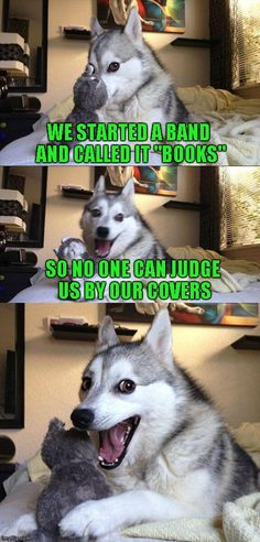 "Bad Pun Dog WE STARTED A BAND AND CALLED IT ""BOOKS"" SO NO ONE CAN JUDGE US BY OUR COVERS image tagged in memes,bad pun dog made w/ Imgflip meme maker"