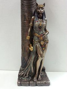 Egyptian Goddess Bast Bastet Cat Statue Leaning on Candle Pillar WU76698A4   eBay