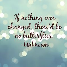 If nothing ever changed, thered be no butterflies.
