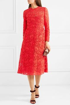 Valentino | Blossom macramé lace midi dress | NET-A-PORTER.COM