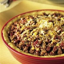 Southwest Crescent Pie - Loaded with classic southwestern flavors, refrigerated crescent rolls makes this hearty ground beef chili, bean and corn pie easy to assemble.