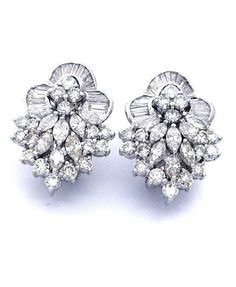 5.25ct Diamond Earrings Appraised $17,110 18K White Gold Spectacular Antique #Cluster
