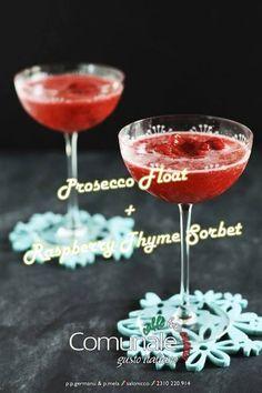 Prosecco Float + Raspberry Thyme Sorbet! Αγαπημένο και πολύ καλοκαιρινό κοκτέιλ. Εσένα ποιο είναι το αγαπημένο σου ιταλικό κοκτέιλ; #comunale #italian_touch #cocktail #prosecco #rasberry — at Comunale.