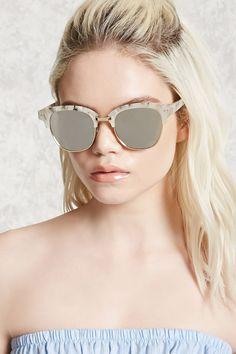 Faux Marble Browline Sunglasses-f21