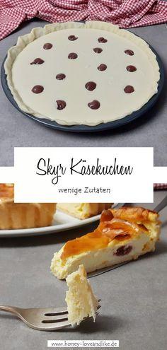 Leichter Skyr Käsekuchen mit Kirschen und wenigen Zutaten #Skyr #Käsekuchen #SkyrKäsekuchen #cheesecake Sweet Bakery, Easy Peasy, Camembert Cheese, Desserts, Cheesecake, Clean Eating, Low Carb, Pie, Party Ideas