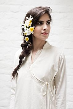 Mogra - Queen of the Night - is a tropical evening-blooming jasmine that flourishes in the summer. Inspired by this elegant flower, Mogra is a collection of unbleached khadi coordinates. Available from Good Earth.