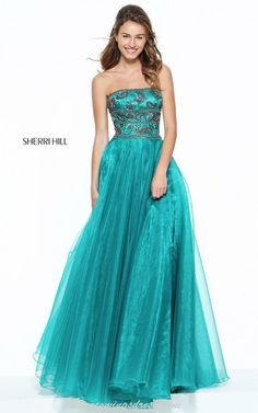 53c7adc6a2ba Teal Sherri Hill 50957 Beads Strapless Senior Prom Gown 2017 Junior Prom  Dresses, Sherri Hill