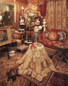 The romance of lace taken to a new level (Coleman residence, Seattle) ~Splendor Victorian Rooms, Victorian Parlor, Victorian Interiors, Victorian Decor, Victorian Fashion, Old Antiques, Dollhouse Furniture, Decoration, Interior Design Living Room