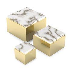 "Anna new york by RabLabs Metal Scatola Box, Medium    Brass/alabaster   Made in Italy    4.5"" W x 4.5"" L x 3.15"" H,   Web ID:1635410"