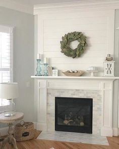 Have you ever seen anything so fresh and simple?  Spark an instant warmth with this fireplace surround tile design - Hampton Carrara Polished Amalfi Marble Mosaic Tile - 12 x 12 in.