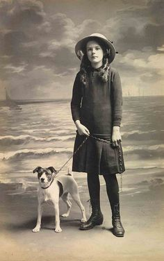 Vintage photo, girl with Jack Russell Terrier, Libby Hall Dog Photos