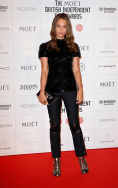 Pin for Later: Alicia Vikander May Be an Actress, But She Looks Like a Freaking Supermodel in These Looks  An all-black Louis Vuitton look was Alicia's pick for the British Independent Film Awards in London.